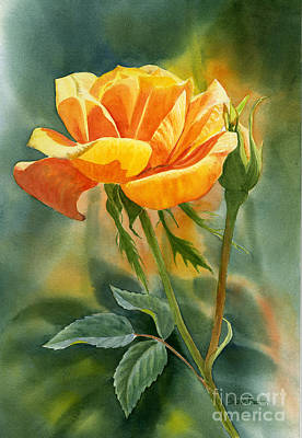 Blooming Painting - Yellow Orange Rose With Background by Sharon Freeman