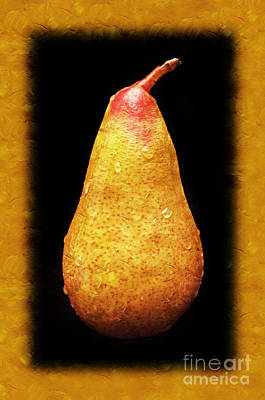 Pear Mixed Media - Yellow Pear Painterly by Andee Design