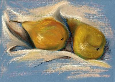 Yellow Pears On Blue Paper Pastel Drawing Print by MM Anderson