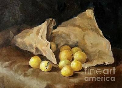 Plumb Painting - Yellow Plums by Karina Plachetka