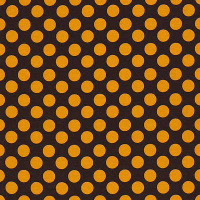 Yellow Polka Dots On Black Fabric Background Print by Keith Webber Jr
