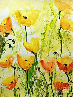 Yellow Poppys - Abstract Floral Painting Print by Ismeta Gruenwald