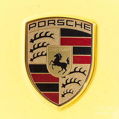 Porsche Photograph - Yellow Porsche Emblem by Robert Loe