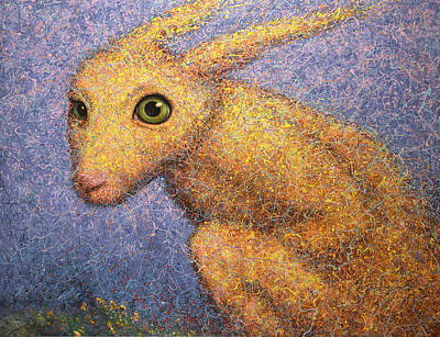 Green Eyes Painting - Yellow Rabbit by James W Johnson