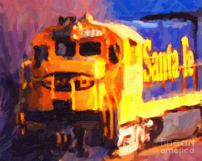 Train Photograph - Yellow Sante Fe Locomotive by Wingsdomain Art and Photography