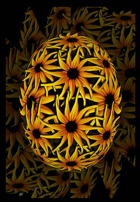 Yellow Sunflower Seed Print by Barbara St Jean