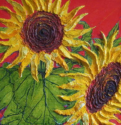 Yellow Sunflowers On Red Print by Paris Wyatt Llanso