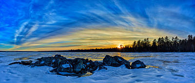 New England Snow Scene Digital Art - Yellow Sunset At Meddybemps Panorama by Bill Caldwell -        ABeautifulSky Photography