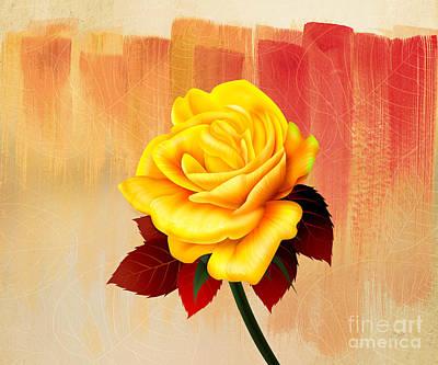 Yellow Tea Rose Print by Bedros Awak