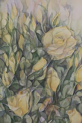 Yellow Tea Rose Closeup Print by Lynne Bolwell