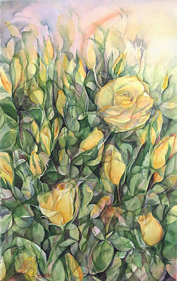Yellow Tea Roses Print by Lynne Bolwell