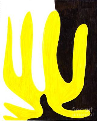 Abstract Painting - Yellow Thing by Myrtle Joy