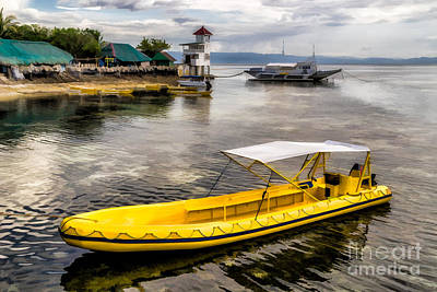 Pier Digital Art - Yellow Tour Boat by Adrian Evans