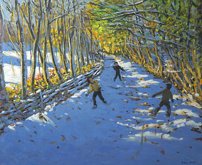 Snowball Fights Painting - Yellow Trees  Allestree Park by Andrew Macara