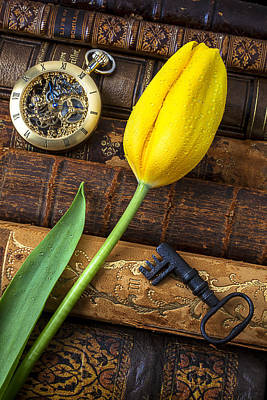 Yellow Tulip On Old Books Print by Garry Gay