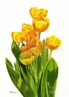 Yellow Tulips Painting - Yellow Tulips In The Sun by Sharon Freeman