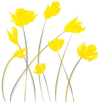 Tulips Painting - Yellow Tulips Modern Art by Lourry Legarde