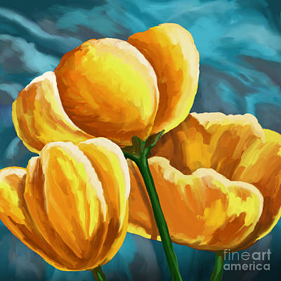 Garden Painting - Yellow Tulips On Blue by Tim Gilliland