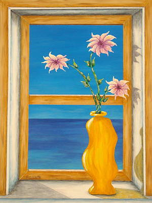Yellow Vase With Sea View Print by Pamela Allegretto