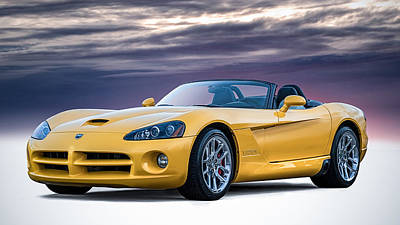 Dodge Digital Art - Yellow Viper Convertible by Douglas Pittman