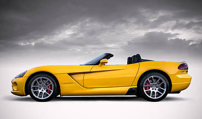 Viper Digital Art - Yellow Viper Roadster by Douglas Pittman