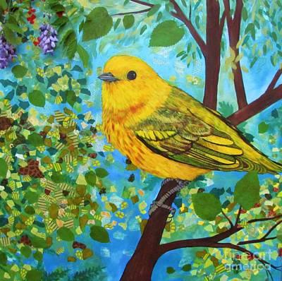 Warbler Mixed Media - Yellow Warbler by Marirosa Hofmann