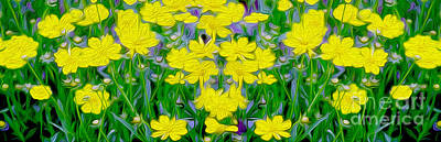 Wild Flowers Mixed Media - Yellow Wild Flowers by Jon Neidert