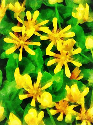 Yellow Wildflowers Print by Susan Savad