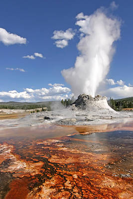 Geyser Digital Art - Yellowstone - Mammoth Hot Springs by Georgia Fowler