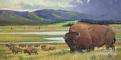 Yellowstone Mixed Media - Yellowstone Bison by Rob Corsetti