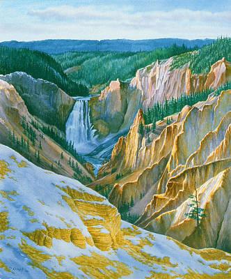 Yellowstone Park Painting - Yellowstone Grand Canyon - November by Paul Krapf
