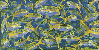 Yellowtail Frenzy In0023 Print by Carey Chen