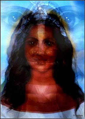 Spiritual Portrait Of Woman Mixed Media - Yemaya -she Sees All by Carmen Cordova