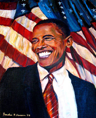 Barack Obama Painting - Yes We Can by Art Nomad Sandra  Hansen