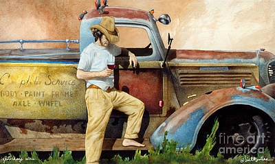 Vintage Truck Painting - Yesterdays Wine... by Will Bullas