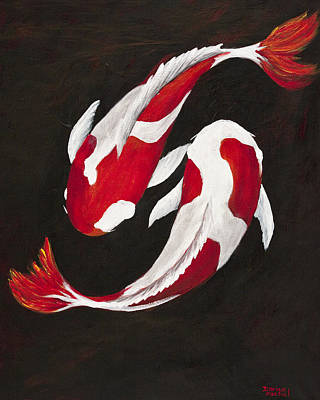 Koi Fish Painting - Yin And Yang by Darice Machel McGuire