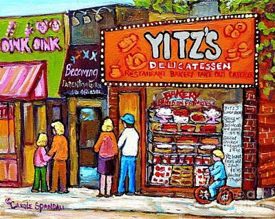 Yitzs Deli Toronto Restaurants Cafe Scenes Paintings Of Toronto Landmark City Scenes Carole Spandau  Print by Carole Spandau