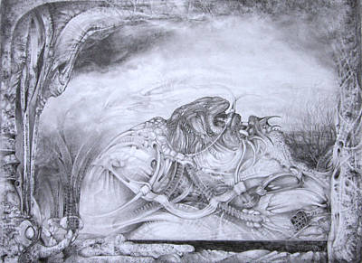 Visionary Art Drawing - Ymir At Rest by Otto Rapp
