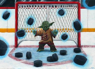 Hockey Painting - Yoda Saves Everything by Marlon Huynh