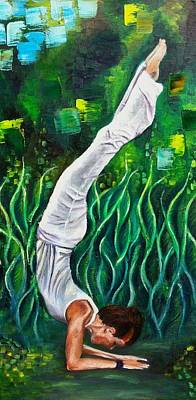 Devotional Painting - Yoga Asana. Ardha Vrishchikasana. Half Scorpion Pose. by Mila Kronik