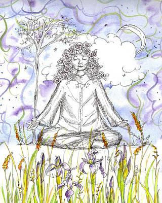 New Moon Drawing - Yoga Meditation by Cathie Richardson