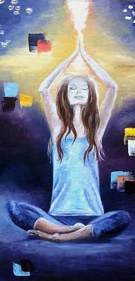 Yoga Painting - Yoga Meditation. Lotus Pose.   by Mila Kronik