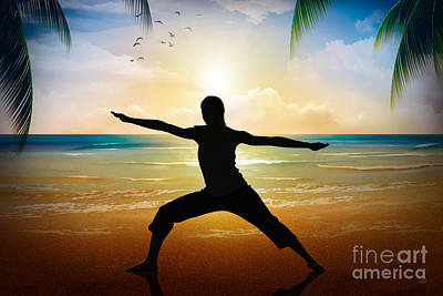 Yoga On Beach Print by Bedros Awak
