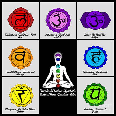 Manipura Digital Art - Yoga Reiki Seven Chakra Symbols Chart by Ernest Bolds
