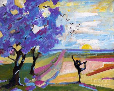 Jacaranda Painting - Yoga Under The Jacaranda Trees by Ginette Callaway