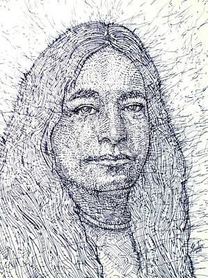 Yogananda Drawing - Yogananda - Pen Portrait by Fabrizio Cassetta