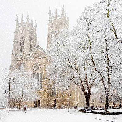 Flurries Photograph - York Minster Snow Storm by John Potter