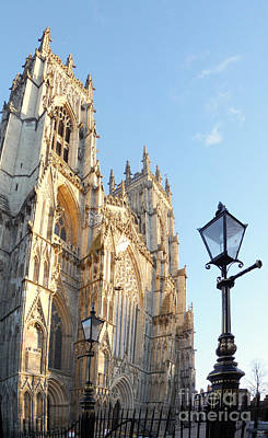 York Minster With Lampost Print by Neil Finnemore
