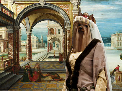 Yorkshire Terrier Art Painting - Yorkshire Terrier Art - The Courtyard Of A Renaissance Palace by Sandra Sij