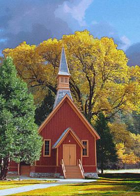 Grand Memories Painting - Yosemite Chapel Fall Painting by John Haldane